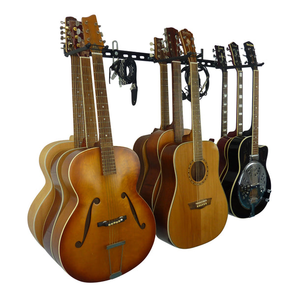 Guitar wall storage rack with 3 guitar storage hooks for 9 guitars and extra GearHooks for leads or other instruments