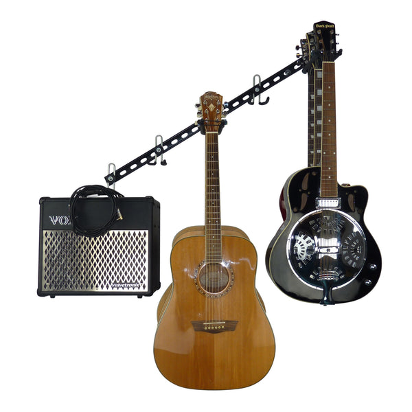 Guitar wall storage rail with 3 guitar storage hooks for up to 6 guitars and an amplifier and leads