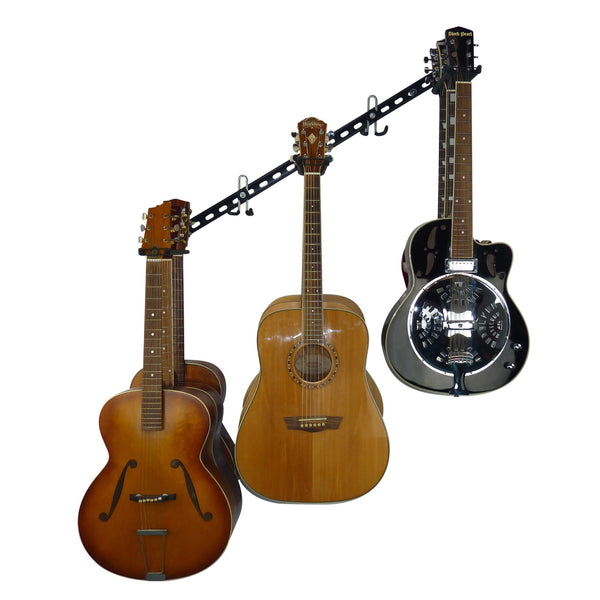 Guitar wall storage rail with 3 guitar storage hooks for 9 guitars and extra GearHooks for leads or other instruments mounted at 45 degrees