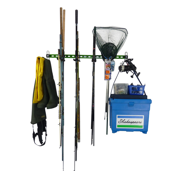 Fishing tackle wall storage showing fishing rod storage hooks