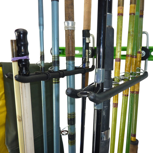 Fishing tackle wall storage showing a close up of the fishing rod storage hooks