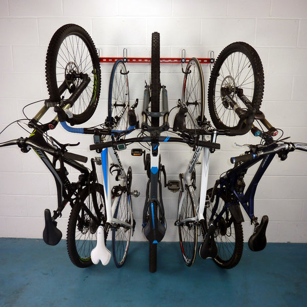 Vertical bike rack, wall mounting bike rack with 5 bikes including 3 MTB and two road bikes