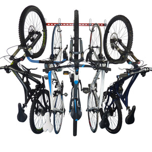 Bike wall storage rack for 5 bikes. Wall mounting vertical bike storage for 5 bikes