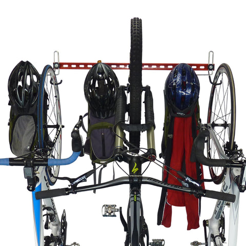 wall mounted bike rack for 3 bikes plus 3 sets of helmets, backpacks, coats and other gear
