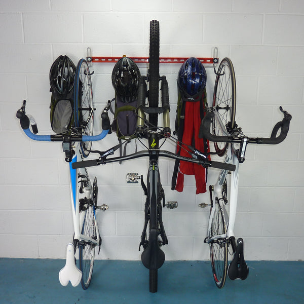 Wall mounting vertical bike rack for 3 bikes and 3 sets of backpacks, coats and helmets