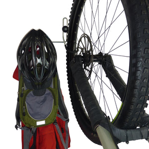 Bike wall hanger for 1 bike plus helmet, backpack, coat and other gear. GearHooks® B1Plus