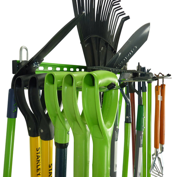 Garden tool rack for 15 or more tools close up