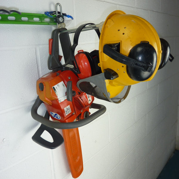 Heavy duty garden tool rack hook with petrol chainsaw, ear defenders and helmet