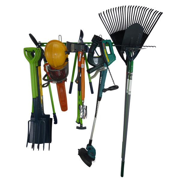 Garden tool rack for 25+ tools holding spades, shovels, fork, lawn edger, hoe, shears, petrol chainsaw, strimmer and electric hedge trimmer