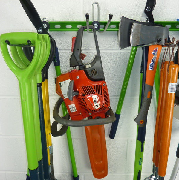 Garden tool rack for 25+ tools holding spades, shovels, fork, lawn edger, hoe, shears, petrol chainsaw, axes