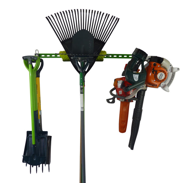 Garden tool rack for 15 or more tools with spades, forks, rakes, chain saw, leaf blower and hedge trimmer