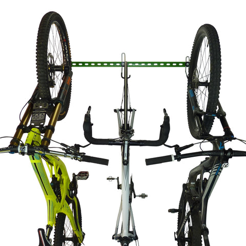 Bike wall rack for 3 road or mountain bikes. Wall mounting vertical bike storage for 3 bikes