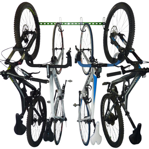 Bike storage rack for 4 bikes. Wall mounting vertical bike storage for 4 bikes