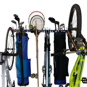 sports equipment wall storage rack for bikes, golf bags, tennis/squash/badminton rackets, hockey sticks, baseball bats, skis and other sports equipment