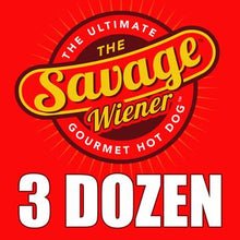 Load image into Gallery viewer, 3 Dozen Gourmet Steak Wieners With A Free Savage Wiener T-Shirt - The Savage Wiener