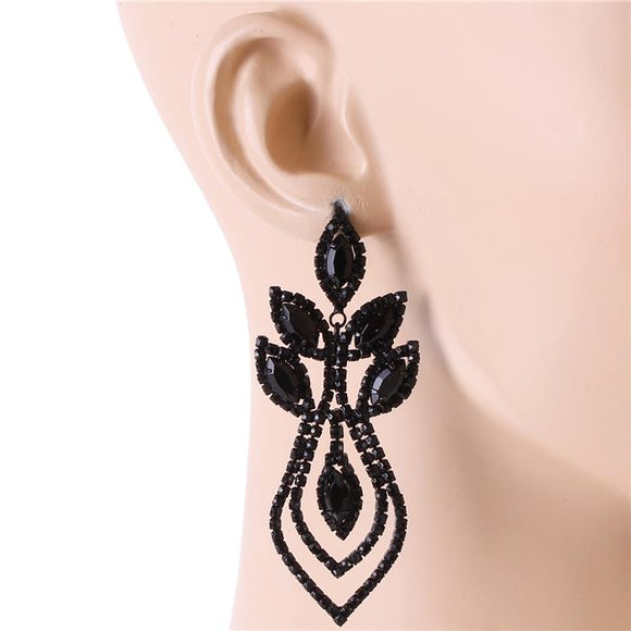 BLACK RHINESTONES CHANDELIER EARRINGS