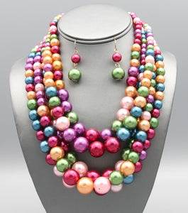 BUBBLE GUMBALL MULTI STRAND COLORFUL PEARL NECKLACE SET