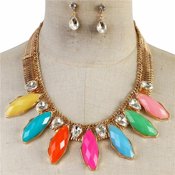 COLORFUL STONE FASHION NECKLACE SET