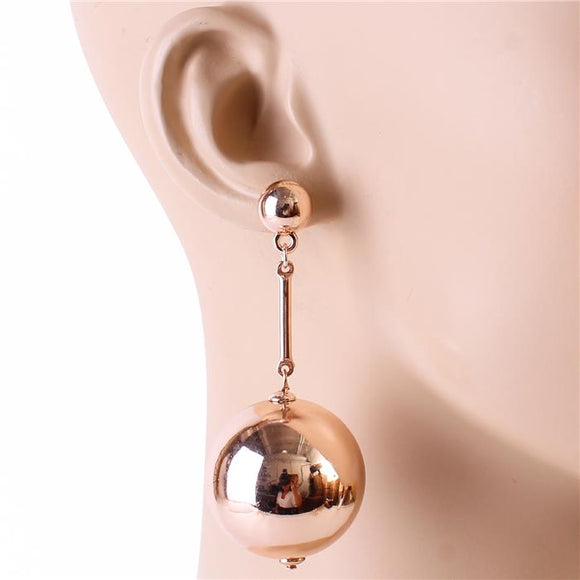 ROSE GOLD BALL DROP FASHION EARRINGS