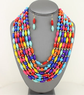 COLORFUL MULTI-STRAND BEADED NECKLACE SET