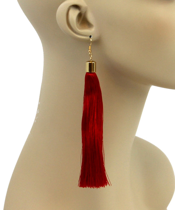 RUBY RED SILK TASSEL EARRINGS