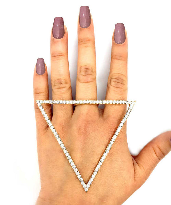 GOLD TRIANGLE RHINESTONE RING