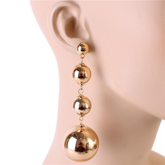 QUAD BALL DROP DANGLING EARRINGS