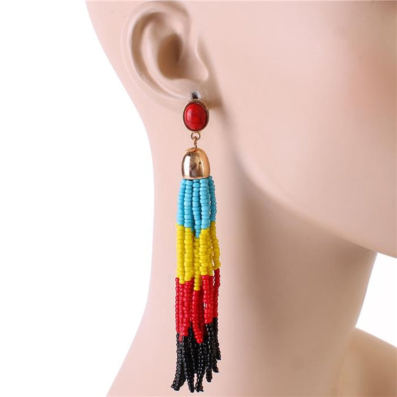 LONG FRINGED TASSEL BEAD EARRINGS