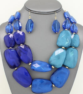 BLUE STONES NECKLACE SET