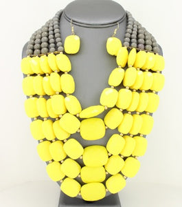 CANARY YELLOW LAYERED NECKLACE SET