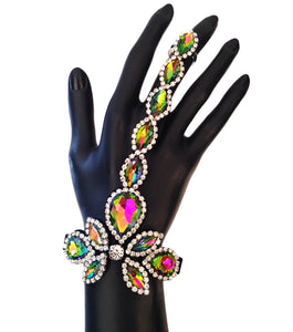 MULTI COLOR HAND CHAIN BRACELET with CRYSTAL RHINETONES