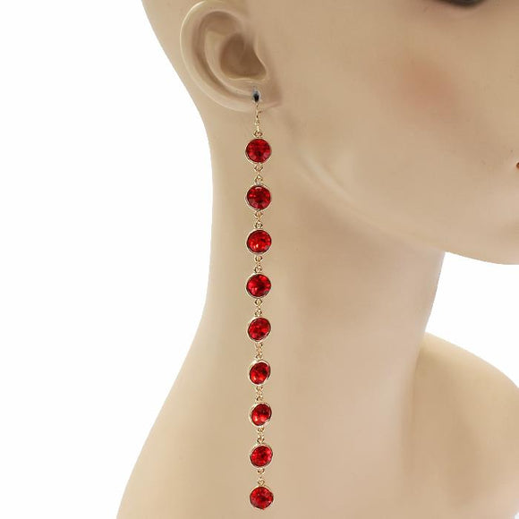LONG RED CRYSTAL EARRINGS