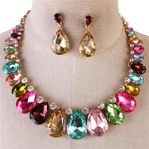 MULTI COLORED CRYSTAL NECKLACE SET