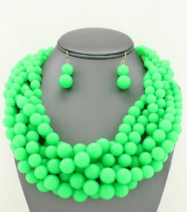 NEON GREEN BRAIDED PEARL NECKLACE SET