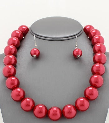 JUMBO PEARL NECKLACE SET - ASSORTED COLORS