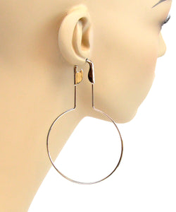 LARGE SAFETY PIN HOOP EARRINGS