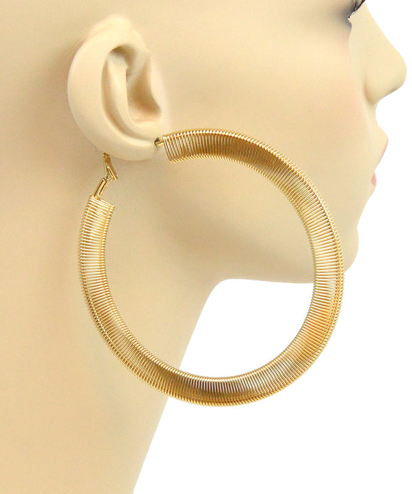 GOLD SPRING HOOP EARRINGS