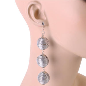 TRIPLE THREAT DANGLE BALL FASHION EARRINGS
