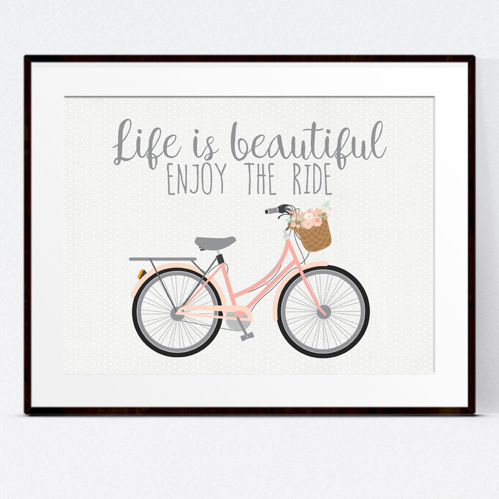 Life Is Beautiful Quotes Life Is Beautiful' Bicycle Print  Kisses And Wishes Ltd