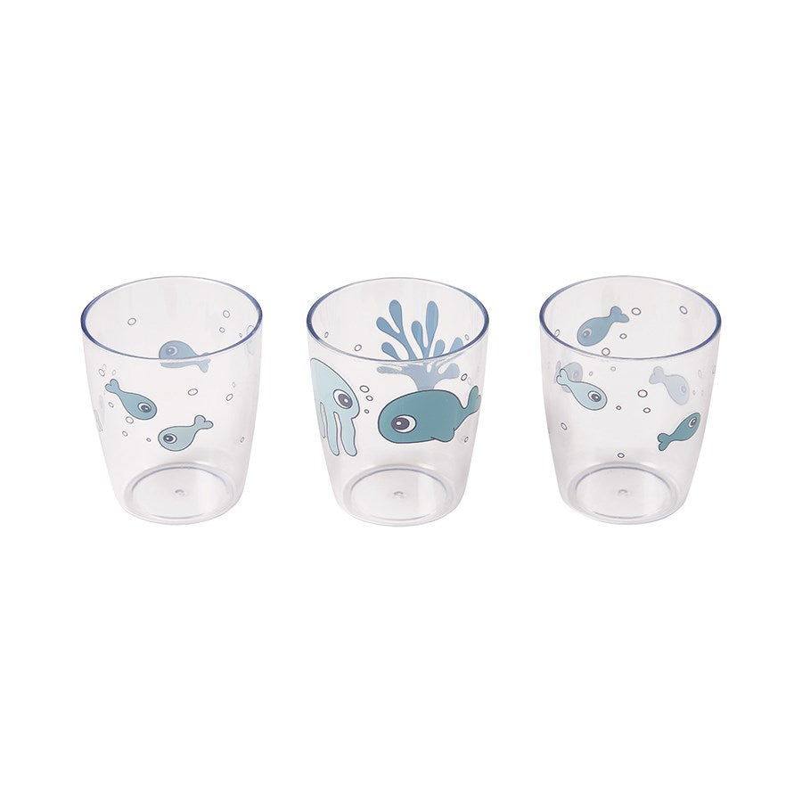 Set de 3 mini vasos Sea Friends: Azul