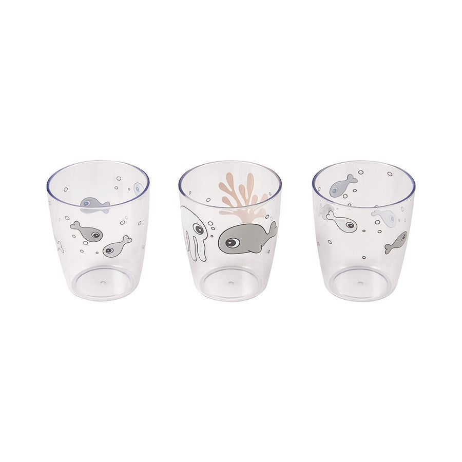 Set de 3 mini vasos Sea Friends: Mostaza y Gris