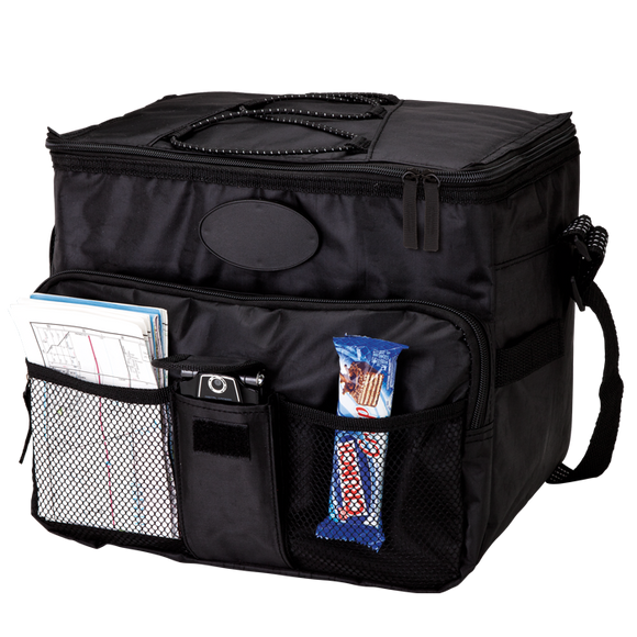18 Can Cooler with 2 Front Mesh Pockets - With Bottles