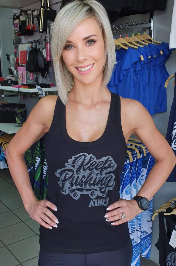 ATHLU LADIES RACERBACK TOP - KEEPPUSHING