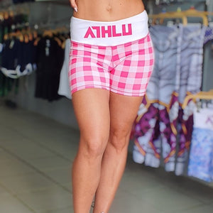ATHLU LADIES PRINTED SHORT TIGHTS - PLAIDPINK