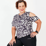 ATHLU LADIES PS TOP - Open Shoulder - Leopard