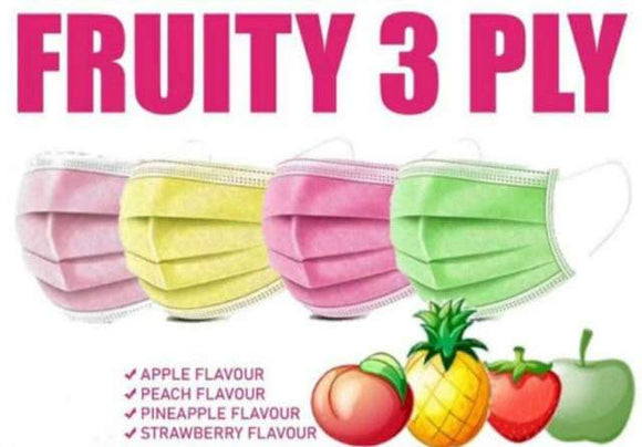 3 Ply Disposable Face Mask - Fruit Scented - Pack of 2