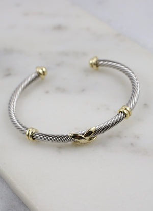 Frederick Two Tone Cable Bracelet SILVER