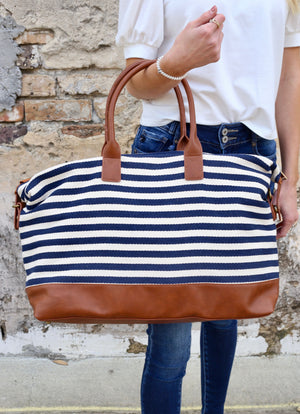 Frye Stripled Duffel Bag NAVY