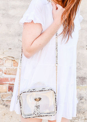 Tinzley Clear Bag With Tassels SNAKE NEUTRAL