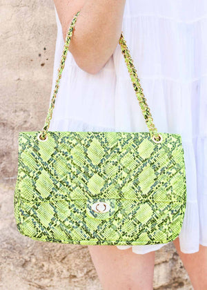 Collins Large Quilted Crossbody SNAKE NEON YELLOW